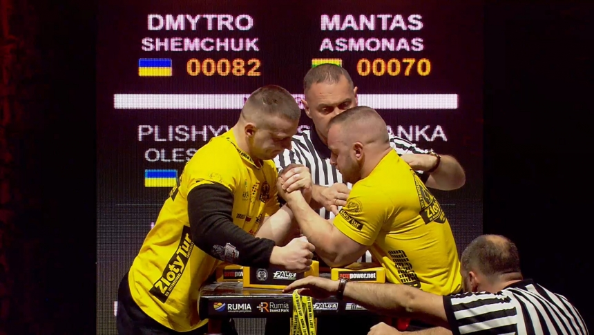 Dmytro Shemchuk vs Mantas Asmonas Left Hand Zloty tur Armwrestling World Cup 2019 # Armbets.tv # фкьиуеыюем