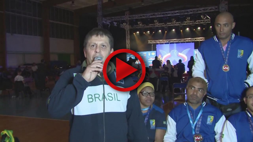 Brasilian team on I World Armwrestling Championship for Deaf & Disabled 2014, Puck # Armbets.tv # фкьиуеыюем