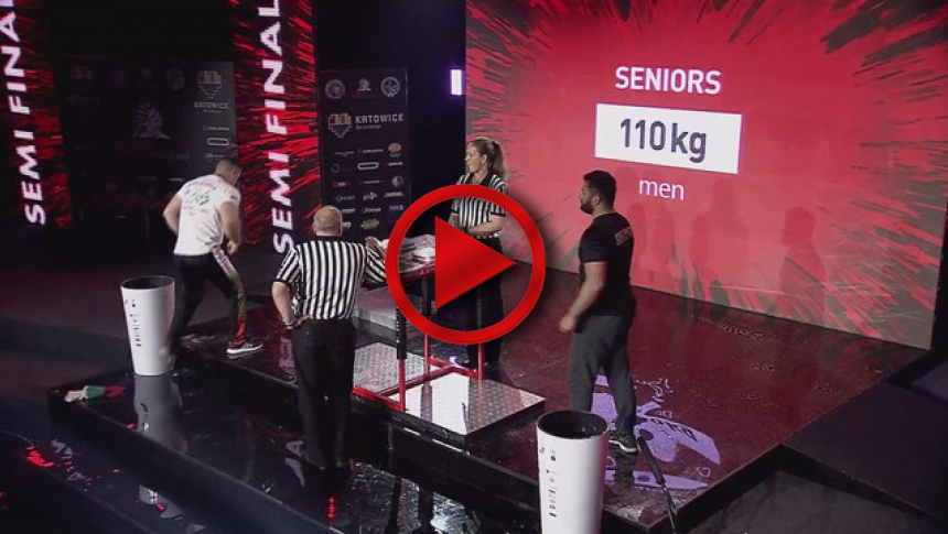 EuroArm2017 - KOSTADINOV - ONIANI - Semi-final Senior Men 110 kg Left # Armbets.tv # фкьиуеыюем