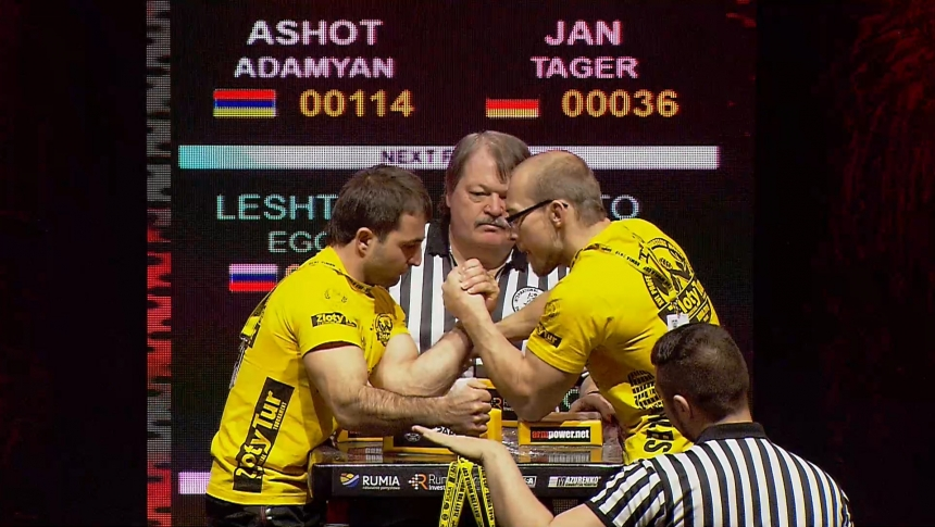 Ashot Adamyan vs Jan Tager Left Hand Zloty tur Armwrestling World Cup 2019 # Armbets.tv # фкьиуеыюем