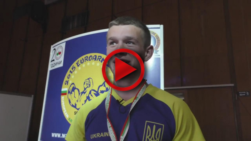 Oleg Zhokh on European Armwrestling Championship 2015 # Armbets.tv # фкьиуеыюем
