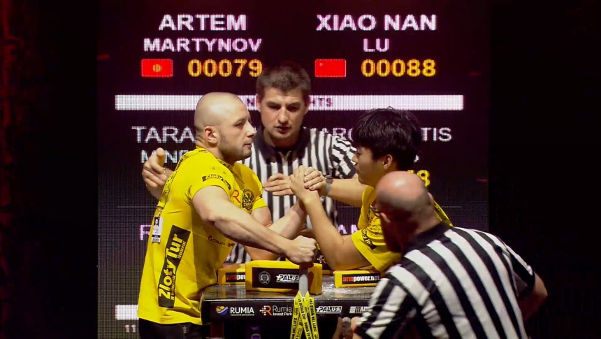Artem Martynov vs Xiao Nan Lu Left Hand Zloty tur Armwrestling World Cup 2019 # Armbets.tv # фкьиуеыюем