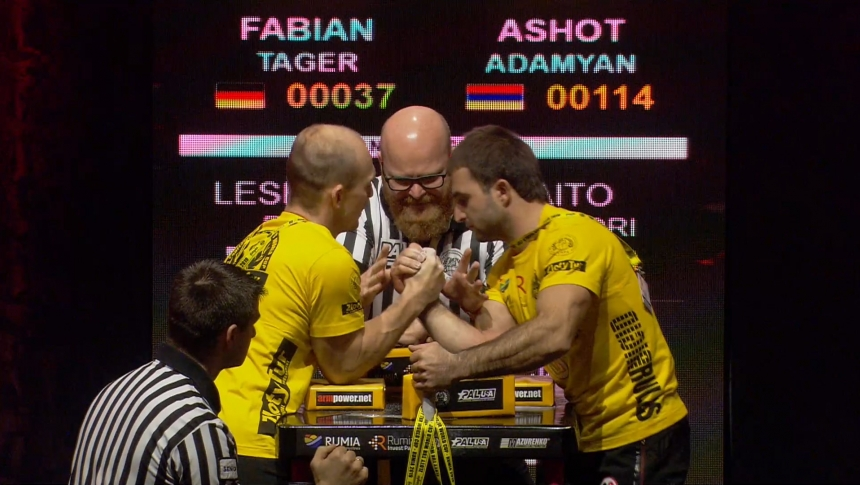 Fabian Tager vs Ashot Adamyan Right Hand Zloty tur Armwrestling World Cup 2019 # Armbets.tv # фкьиуеыюем