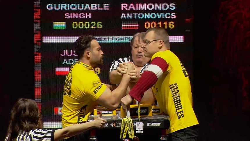 Guriquable Singh vs Raimonds Antonovics Right Hand Zloty tur Armwrestling World Cup 2019 # Armbets.tv # фкьиуеыюем