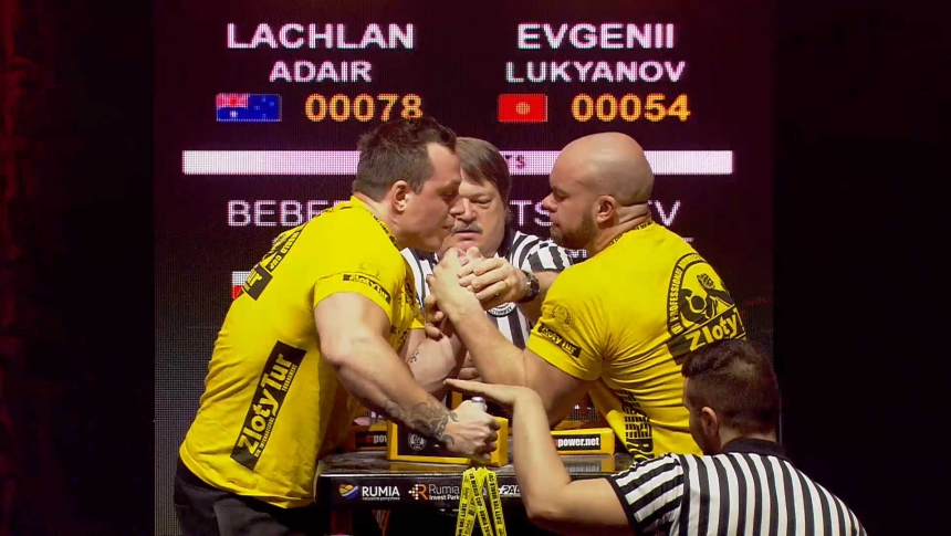 Lachlan Adair vs Evgenii Lukyanov Left Hand Zloty tur Armwrestling World Cup 2019 # Armbets.tv # фкьиуеыюем