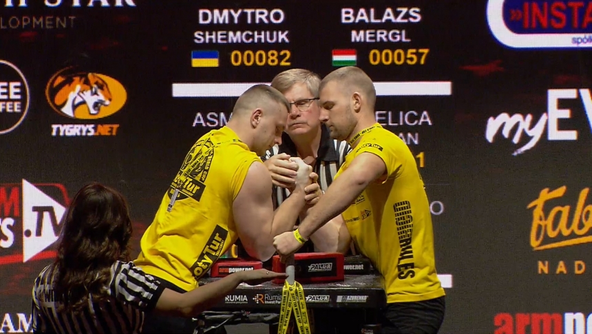 Dmytro Shemchuk vs Balazs Mergl Right Hand Zloty tur Armwrestling World Cup 2019 # Armbets.tv # фкьиуеыюем