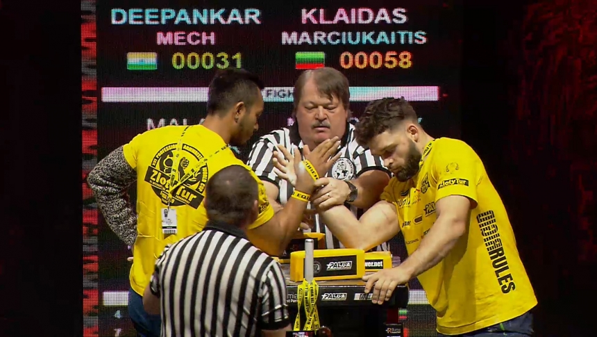 Deepankar Mech vs Klaidas Marciukaitis Right Hand Zloty tur Armwrestling World Cup 2019 # Armbets.tv # фкьиуеыюем
