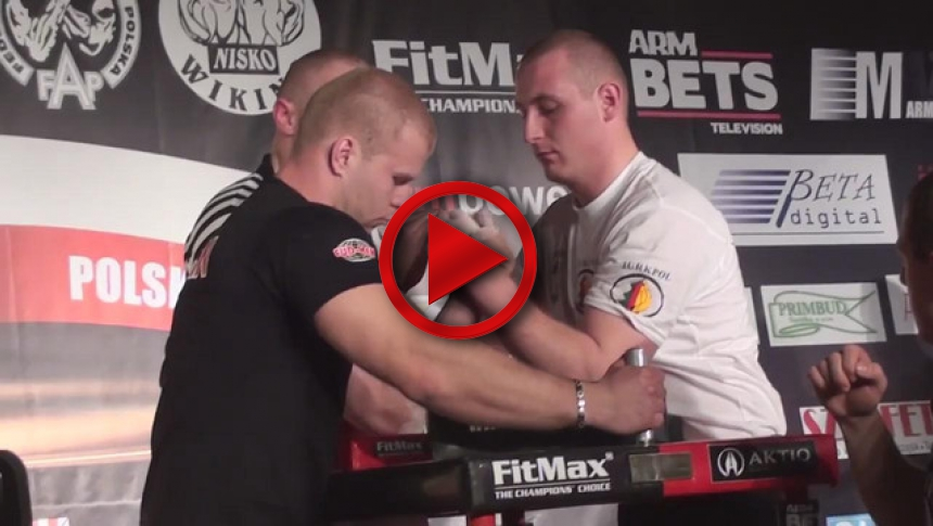 Polish National Armwrestling Championships 2011   left  - Tomasz Szewczyk & Marcin Molenda - final # Armbets.tv # фкьиуеыюем