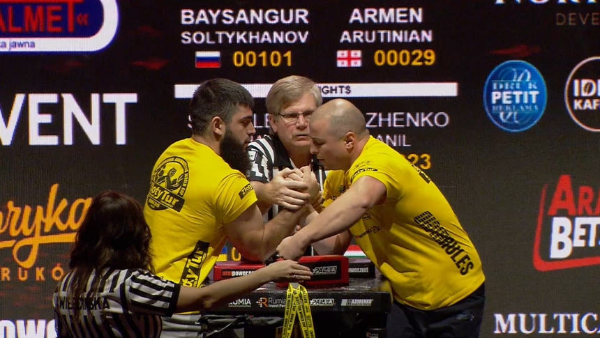 Baysangur Soltykhanov vs Armen Arutinian Right Hand Zloty tur Armwrestling World Cup 2019 # Armbets.tv # фкьиуеыюем