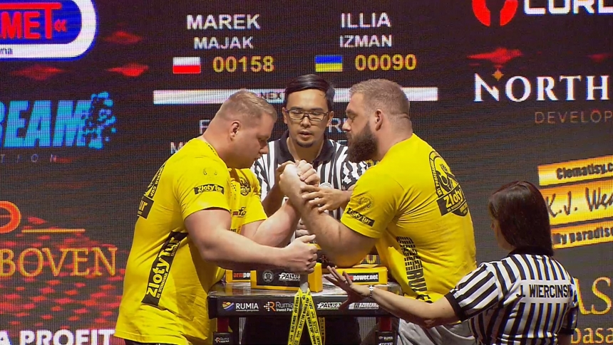 Marek Majak vs Illia Izman Left Hand Zloty tur Armwrestling World Cup 2019 # Armbets.tv # фкьиуеыюем