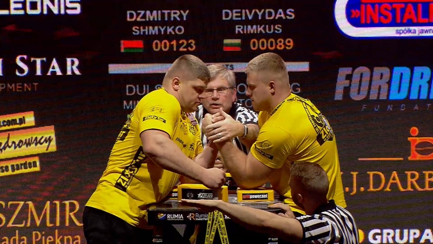 Dzmitry Shmyko vs Devydas Rimkus Left Hand Zloty tur Armwrestling World Cup 2019 # Armbets.tv # фкьиуеыюем
