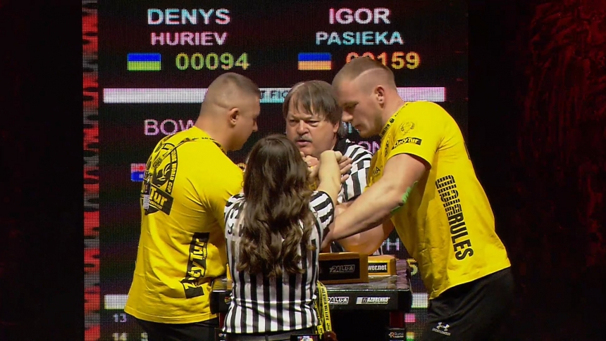 Denys Huriev vs Igor Pasieka Right Hand Zloty tur Armwrestling World Cup 2019 # Armbets.tv # фкьиуеыюем