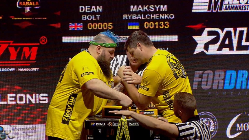 Dean Bolt vs Maksym Rybalchrnko Left Hand Zloty tur Armwrestling World Cup 2019 # Armbets.tv # фкьиуеыюем