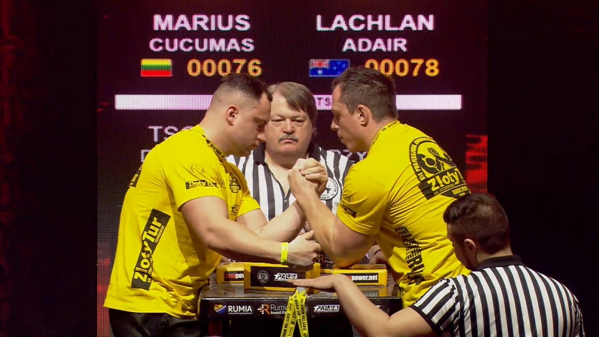 Marius Cucumas vs Lachlan Adair Left Hand Zloty tur Armwrestling World Cup 2019 # Armbets.tv # фкьиуеыюем
