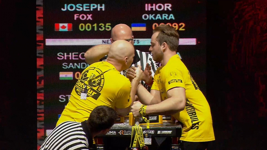 Joseph Fox vs Ihor Okara Right Hand Zloty tur Armwrestling World Cup 2019 # Armbets.tv # фкьиуеыюем