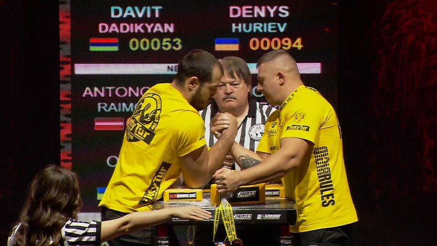 Davit Dadikyan vs Denys Huriev Right Hand Zloty tur Armwrestling World Cup 2019 # Armbets.tv # фкьиуеыюем