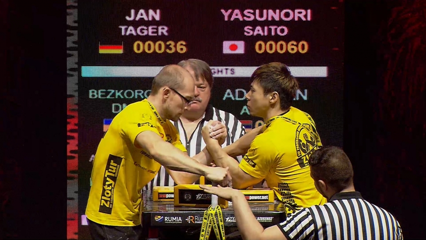 Jan Tager vs Yasunori Saito Left Hand Zloty tur Armwrestling World Cup 2019 # Armbets.tv # фкьиуеыюем
