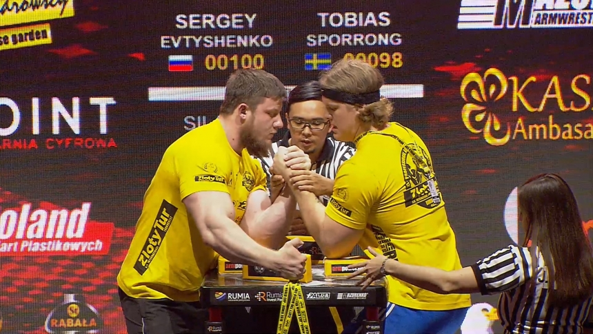 Sergey Evtyshenko vs Tobias Sporrong Left Hand Zloty tur Armwrestling World Cup 2019 # Armbets.tv # фкьиуеыюем