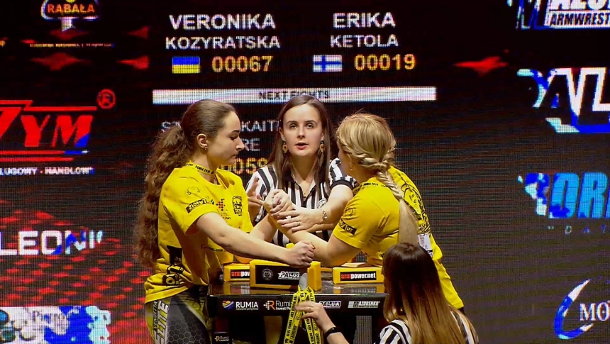 Veronika Kozyratska vs Erika Ketola Left Hand Zloty tur Armwrestling World Cup 2019 # Armbets.tv # фкьиуеыюем