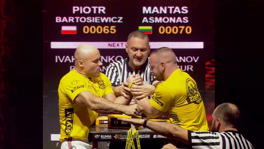 Piotr Bartosiewicz vs Mantas Asmonas Left Hand Zloty tur Armwrestling World Cup 2019 # Armbets.tv # фкьиуеыюем