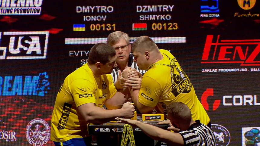 Dmytro Ionov vs Dzmitry Shmyko Left Hand Zloty tur Armwrestling World Cup 2019 # Armbets.tv # фкьиуеыюем