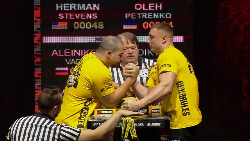 Herman Stevens vs Oleh Petrenko Right Hand Zloty tur Armwrestling World Cup 2019 # Armbets.tv # фкьиуеыюем