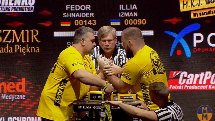 Fedor Shnaider vs Illia Izman Left Hand Zloty tur Armwrestling World Cup 2019 # Armbets.tv # фкьиуеыюем