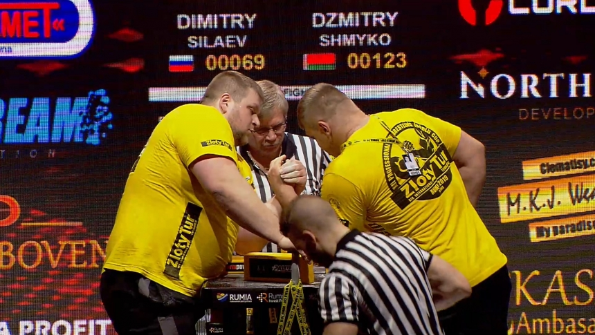 Dimitry Silaev vs Dzmitry Shmyko Left Hand Zloty tur Armwrestling World Cup 2019 # Armbets.tv # фкьиуеыюем