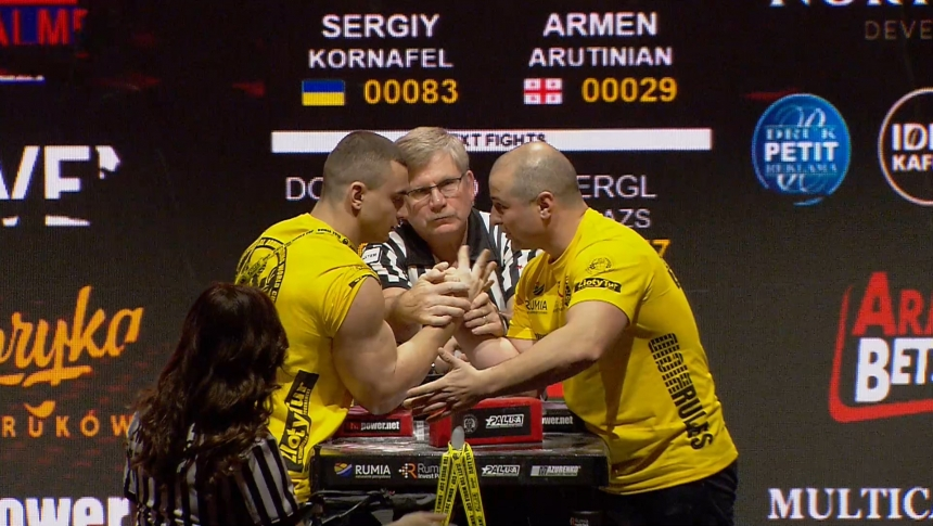 Sergiy Kornafel vs Armen Arutinian Right Hand Zloty tur Armwrestling World Cup 2019 # Armbets.tv # фкьиуеыюем