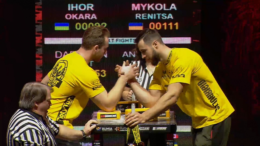 Ihor Okara vs Mykola Renitsa Right Hand Zloty tur Armwrestling World Cup 2019 # Armbets.tv # фкьиуеыюем
