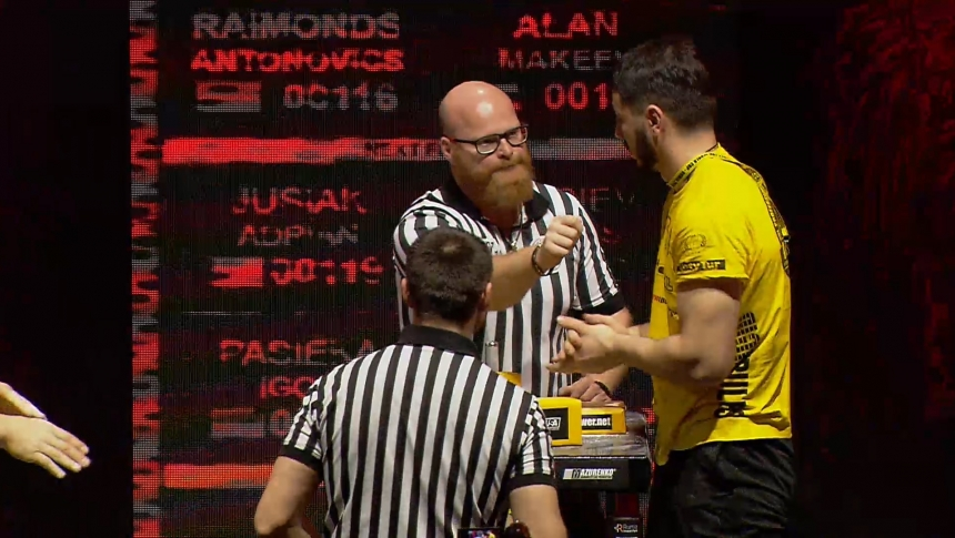 Raimonds Antonovics vs Alan Makeev Right Hand Zloty tur Armwrestling World Cup 2019 # Armbets.tv # фкьиуеыюем