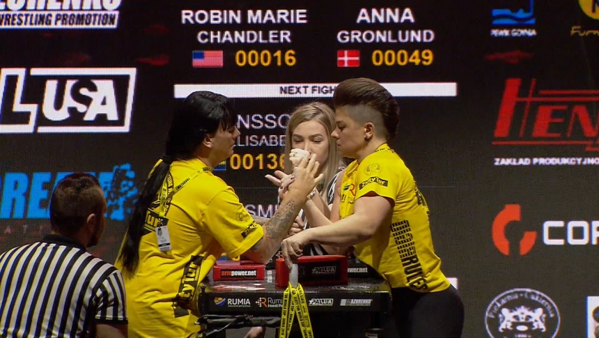 Robin Marie Chandler vs Anna Gronlund Right Hand Zloty tur Armwrestling World Cup 2019 # Armbets.tv # фкьиуеыюем