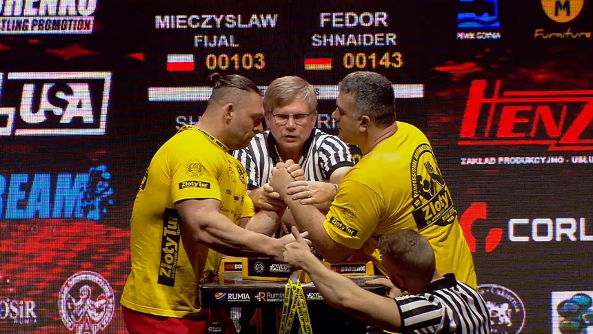 Mieczyslav Fijal vs Fedor Shnaider Left Hand Zloty tur Armwrestling World Cup 2019 # Armbets.tv # фкьиуеыюем