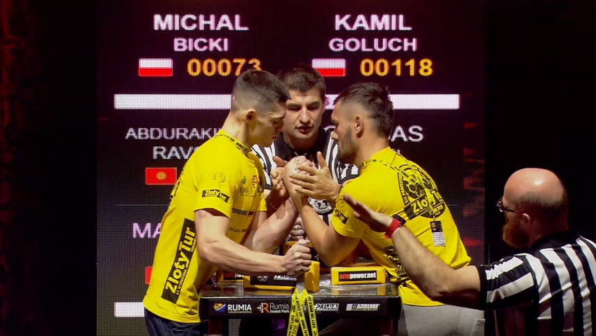 Michal Bicki vs Kamil Goluch Left Hand Zloty tur Armwrestling World Cup 2019 # Armbets.tv # фкьиуеыюем