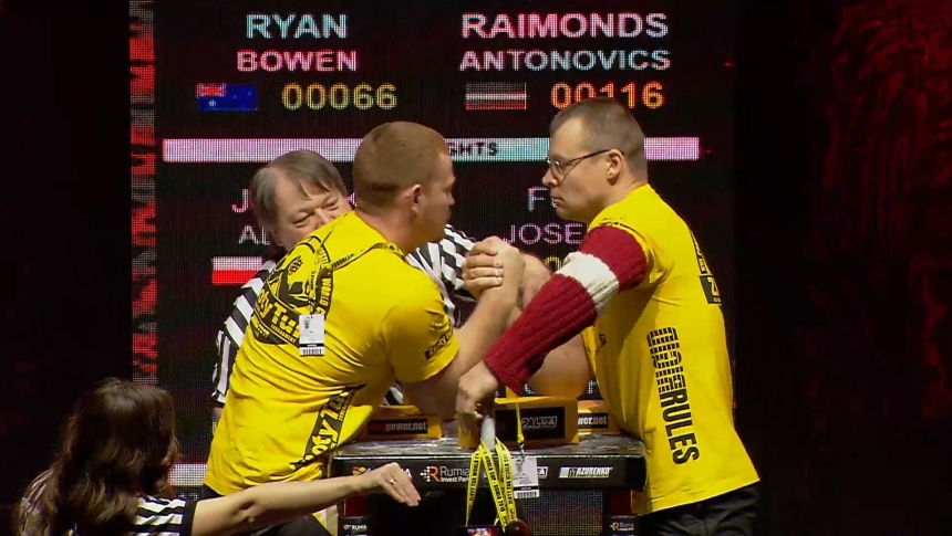 Ryan Bowen vs Raimonds Antonovics Right Hand Zloty tur Armwrestling World Cup 2019 # Armbets.tv # фкьиуеыюем