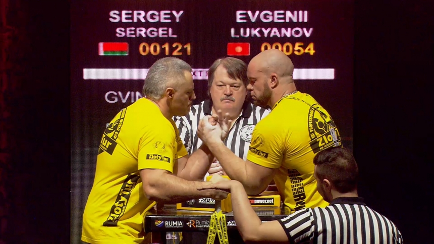 Sergey Sergel vs Evgenii Lukyanov Left Hand Zloty tur Armwrestling World Cup 2019 # Armbets.tv # фкьиуеыюем