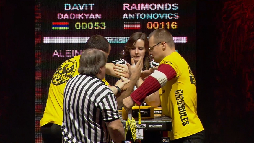 Davit Dadikyan vs Raimonds Antonovics Right Hand Zloty tur Armwrestling World Cup 2019 # Armbets.tv # фкьиуеыюем